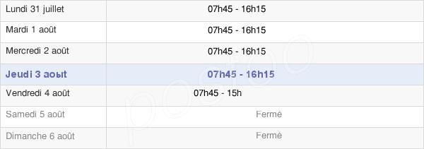horaires d'ouverture de la Mairie D'Entre-Deux