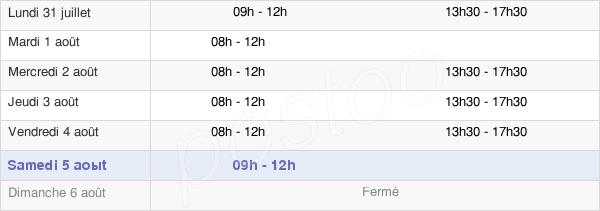 horaires d'ouverture de la Mairie De Dabo