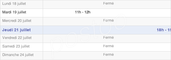 horaires d'ouverture de la Mairie De Marsal