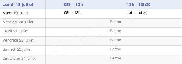 horaires d'ouverture de la Mairie De Mézères