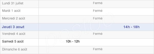 horaires d'ouverture de la Mairie De Josat