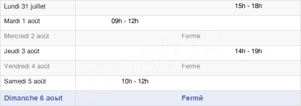 horaires d'ouverture de la Mairie De Chadron