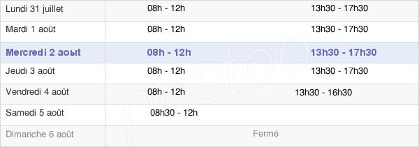 horaires d'ouverture de la Mairie De Mont-De-Marsan
