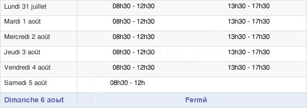 horaires d'ouverture de la Mairie De Cheval-Blanc