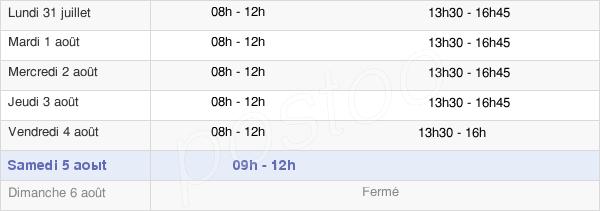 horaires d'ouverture de la Mairie De Jonquières