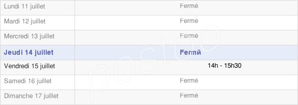 horaires d'ouverture de la Mairie De Bailly-Le-Franc