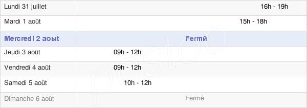 horaires d'ouverture de la Mairie De Brévonnes
