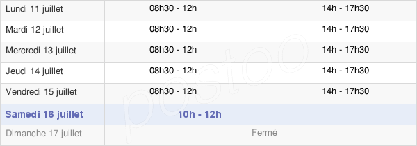 horaires d'ouverture de la Mairie De Nogent-Sur-Seine