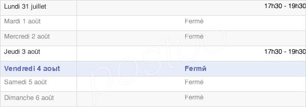 horaires d'ouverture de la Mairie De Rouilly-Saint-Loup