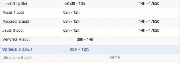 horaires d'ouverture de la Mairie De Buchères
