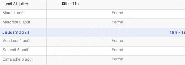 horaires d'ouverture de la Mairie De Brillecourt