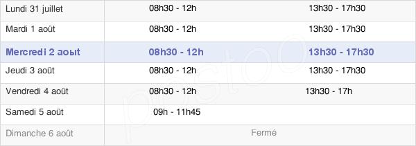 horaires d'ouverture de la Mairie De Sainte-Savine