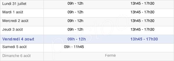 horaires d'ouverture de la Mairie De Vendeuvre-Sur-Barse