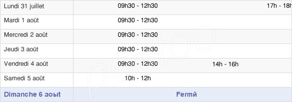 horaires d'ouverture de la Mairie De Saint-André-Sur-Sèvre