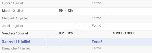 horaires d'ouverture de la Mairie Des Forges
