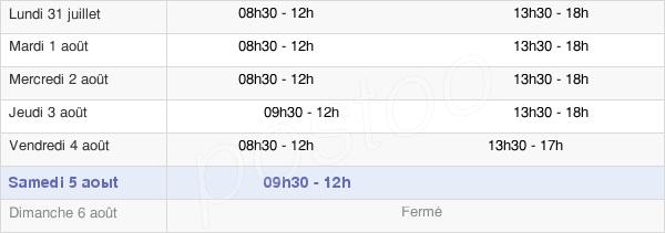 horaires d'ouverture de la Mairie De Parthenay