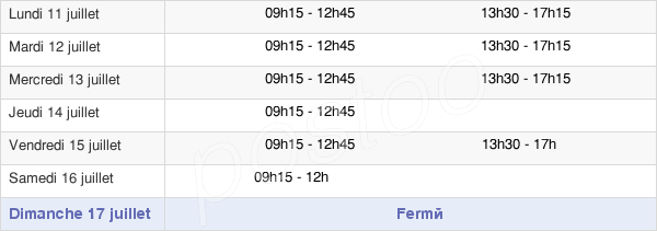 horaires d'ouverture de la Mairie De Coulon