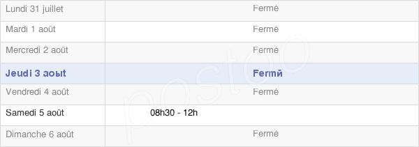 horaires d'ouverture de la Mairie De Pamproux