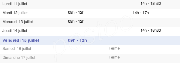horaires d'ouverture de la Mairie De La Foye-Monjault