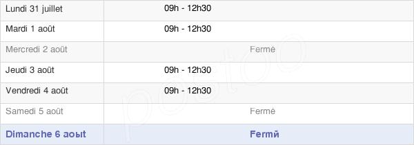 horaires d'ouverture de la Mairie De Pamplie