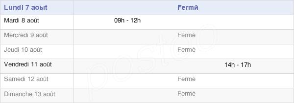 horaires d'ouverture de la Mairie De Lhoumois