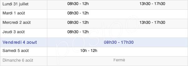 horaires d'ouverture de la Mairie D'Échiré