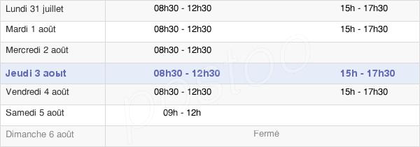 horaires d'ouverture de la Mairie De Mauzé-Sur-Le-Mignon