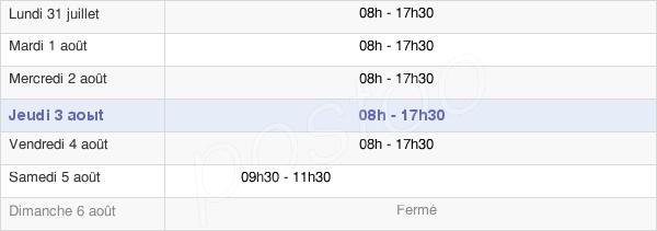 horaires d'ouverture de la Mairie De Niort
