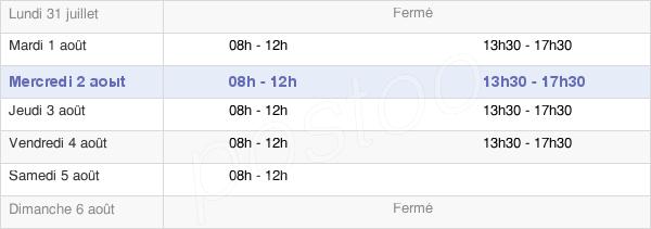 horaires d'ouverture de la Mairie De Bergerac