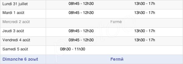 horaires d'ouverture de la Mairie De Chavagnac