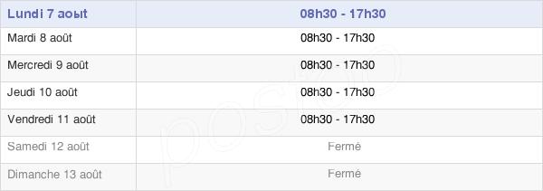 horaires d'ouverture de la Mairie De Périgueux