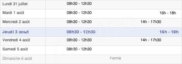 horaires d'ouverture de la Mairie De Saint-Georges-De-Montaigu