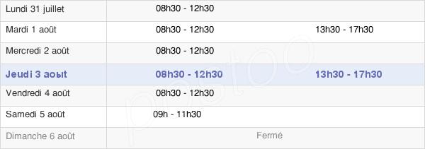 horaires d'ouverture de la Mairie De La Boissière-Des-Landes