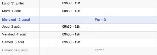 horaires d'ouverture de la Mairie De Puy-De-Serre