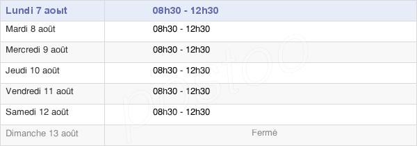horaires d'ouverture de la Mairie De Chauché
