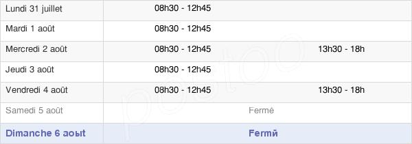 horaires d'ouverture de la Mairie De La Génétouze