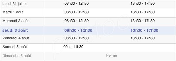 horaires d'ouverture de la Mairie De Chantonnay