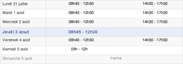 horaires d'ouverture de la Mairie De Saint-Philbert-De-Bouaine