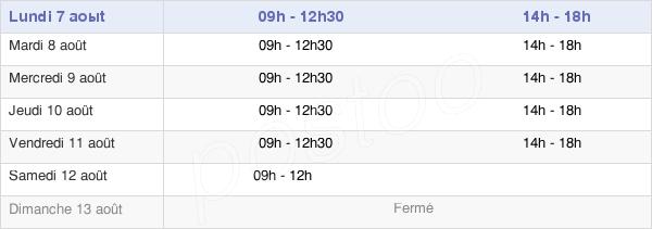 horaires d'ouverture de la Mairie De La Châtaigneraie