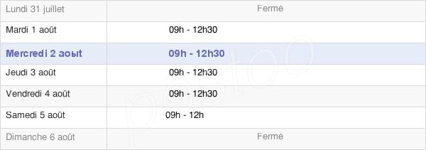 horaires d'ouverture de la Mairie De La Bernardière