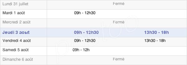 horaires d'ouverture de la Mairie De La Tardière