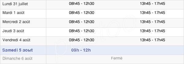 horaires d'ouverture de la Mairie De Challans