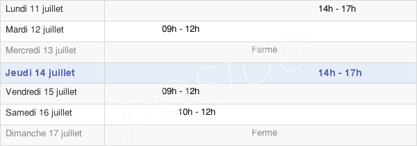 horaires d'ouverture de la Mairie De Vix