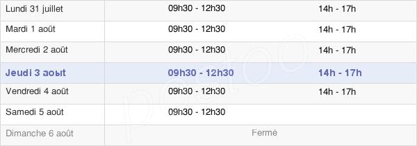 horaires d'ouverture de la Mairie De Sainte-Hermine