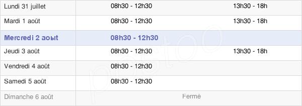 horaires d'ouverture de la Mairie D'Aubigny
