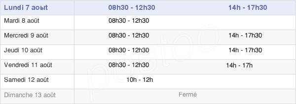 horaires d'ouverture de la Mairie De La Chaize-Le-Vicomte
