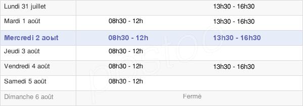 horaires d'ouverture de la Mairie De L'Aiguillon-Sur-Mer