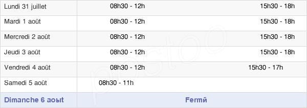 horaires d'ouverture de la Mairie De La Bruffière