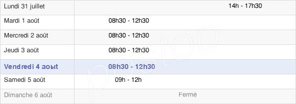horaires d'ouverture de la Mairie De Saint Sulpice Le Verdon