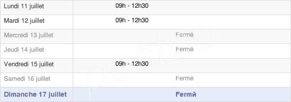 horaires d'ouverture de la Mairie De Vergné